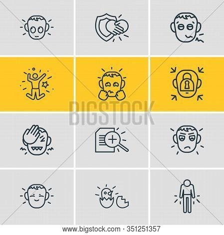Illustration Of 12 Emoji Icons Line Style. Editable Set Of Pathetic, Research, Guilty And Other Icon