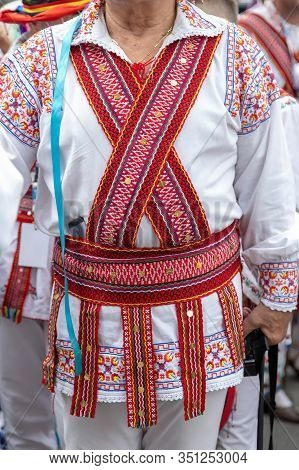 Detail Of Romanian Folk Costume For Man With Multicolored Embroidery. Specific For Oltenia Area.