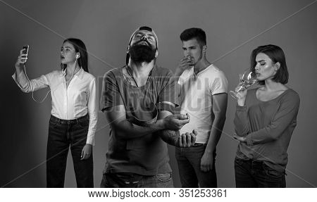 Bad Habits Or Addiction. People Suffering From Alcohol And Cocaine Or Tobacco Addiction To Behavior