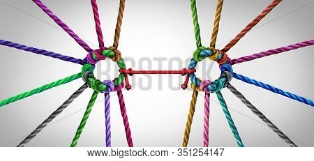 United Teamwork Concept As A Business Metaphor For Joining A Unity Partnership As Diverse Ropes Grou