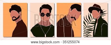 Set Of Abstract Modern Man People Faces Portraits Artistic Trendy Background Templates Posters Cards