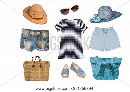 Collage Of Female Summer Beach Clothes And Accessories Consist Hats, Shorts, Beach Shoes, Bags, Shir