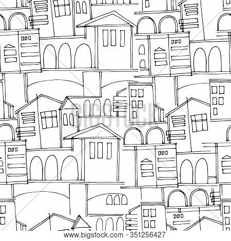 Seamless Pattern, Black And White Cityscape With Historical Buildings And Archways, For Surface Desi