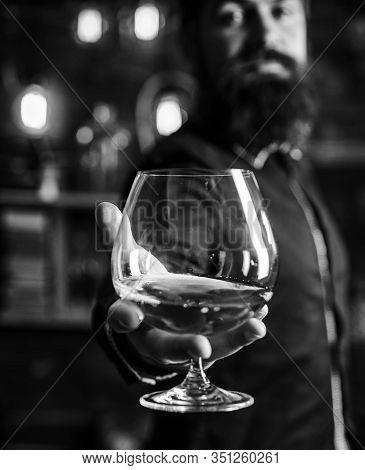 Drink Barman. Pub Retro Vintage Interior. Hipster Barman Concept. Swag Guy With Alcohol. Drunk Man.