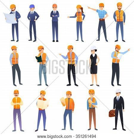 Contractor Icons Set. Cartoon Set Of Contractor Vector Icons For Web Design
