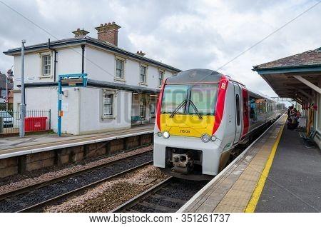 Flint, Uk: Feb 11, 2020: The 2 Platform Flint Railway Station Lies On The North Wales Coast Line. Th