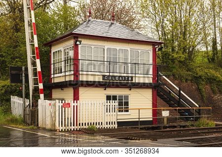 Culgaith Signal Box And Level Crossing.  A Railway Crossing And Traditional Railway Signal Box At Cu