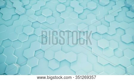 3d Rendering Of Abstract Hexagonal Geometric Surfaces In Virtual Space. Randomly Placed Geometric Sh