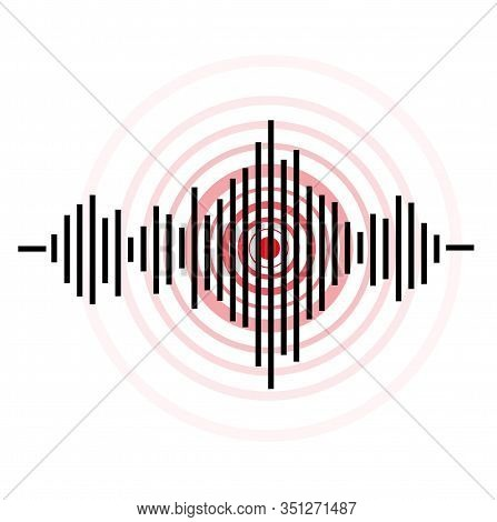Black And Red Earthquake Icon On White Background