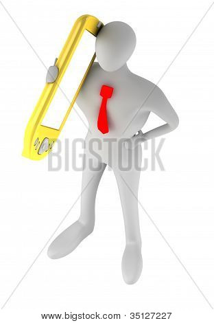 3D Person With Golden Phone