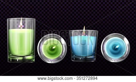 Burning Candles In Glass Jars Front And Top View Set Isolated On Transparent Background. Green And B