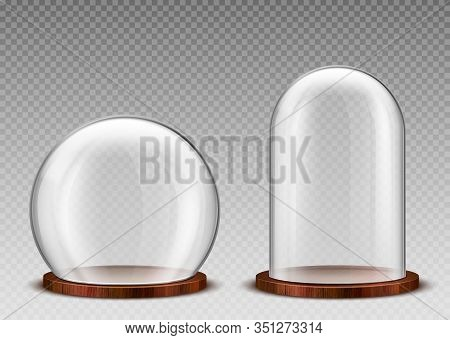 Glass Dome, Transparent Plastic Bell Jar On Wooden Podium. Vector Realistic Mockup Of Empty Protecti