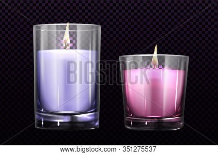 Burning Candles In Glass Jars Set Isolated On Transparent Background. Purple And Pink Colored Elemen