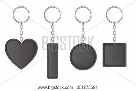 Leather Keychain, Holder Trinket For Key With Metal Chain And Ring. Vector Realistic Template Of Bla
