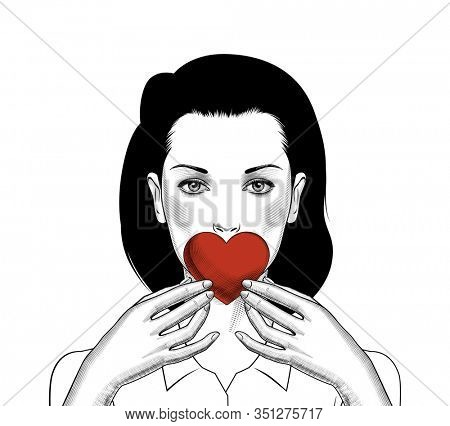 A young girl holding a red heart in her hands. Vintage engraving stylized drawing.