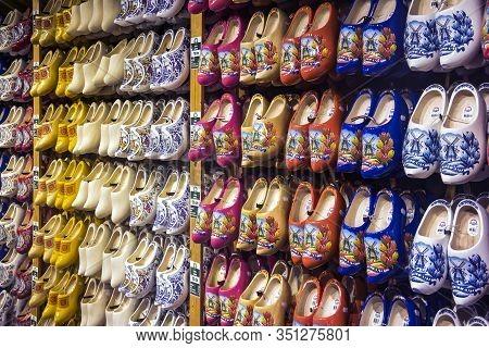 Zaanse Schans, The Netherlands - 20.01.2020:  Dutch Wooden Handmade Clogs (shoes) In A Souvenir Shop