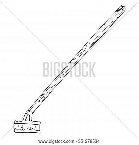 Hoe Icon. Vector Illustration Of A Garden Hoe. Hand Drawn Garden Hoe.