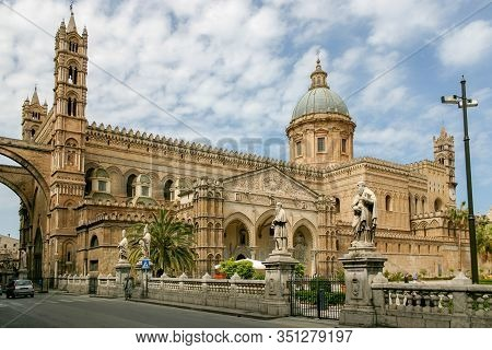 The Architecture Of Palermo Cathedral, Palermo, Sicily, Italy. Started In 1185 And Completed In The