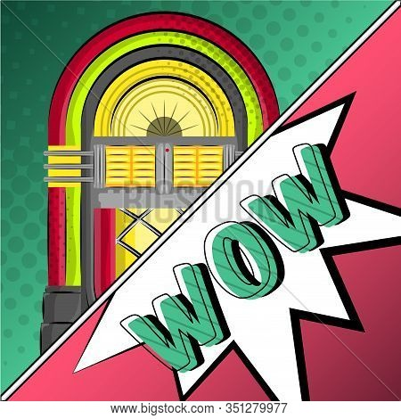 Neon Jukebox With A Comic Expression. Pop Art Illustration - Vector