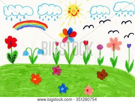 Childish Drawing Of House Flowers And Colored Rainbow. Bright Summer. Childish Drawing Of Clearing W