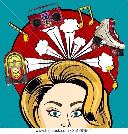 Neon Jukebox, Vintage Radio And Retro Roller Skate With A Comic Expression. Pop Art Illustration - V