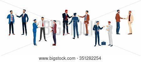 Business Forum. Set Businessmen Different Poses Isolated Flat Vector Illustration.