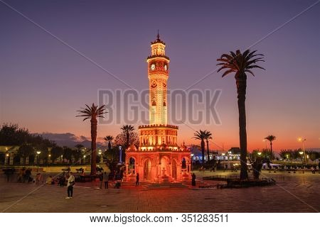 Izmir, Turkey - November 5, 2019: Izmir Clock Tower at twilight at the Konak Square in Izmir, Turkey.