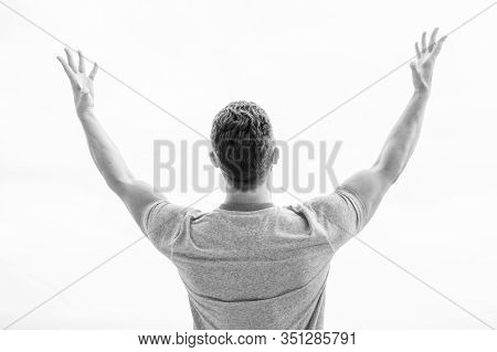 Muscular Back Man Isolated On White. Success Is About Making Ideas Happen. Happy Winner. Successful