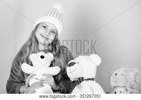 Teddy Bears Help Children Handle Emotions And Limit Stress. Kid Little Girl Play With Soft Toy Teddy