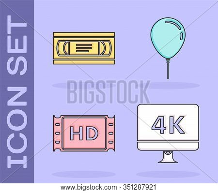 Set Computer Pc Monitor With 4k Video Technology , Vhs Video Cassette Tape , 4k Movie, Tape, Frame A
