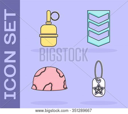 Set Military Dog Tag , Hand Grenade , Military Helmet And Military Rank Icon. Vector