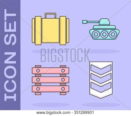 Set Military Rank , Military Ammunition Box, Military Ammunition Box And Military Tank Icon. Vector