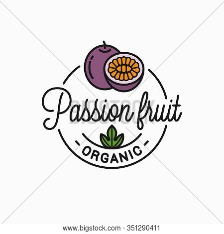 Passion Fruit Logo. Round Linear Of Passion Slice