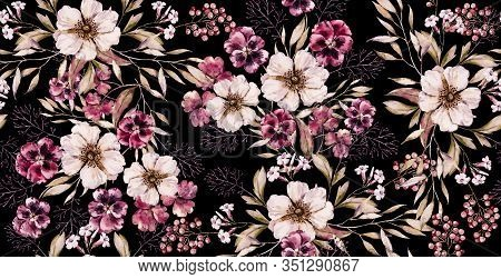 Watercolor Floral Vintage Seamless Pattern On Luxury Black Print. Hand Painted Watercolour Floral Pa