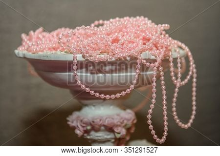 Pink Pearl Beads In A Vase. Vintage Jewelry Made Of Natural Pearls.