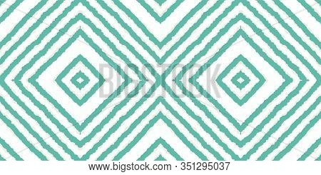 Blue Fashion Chevron Vector Seamless Pattern. Psychedelic Tile Aztec Texture. Traditional Fabric Bac