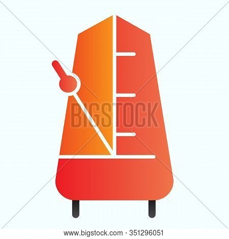 Metronome With Moving Pendulum Flat Icon. Tempo Vector Illustration Isolated On White. Musical Equip