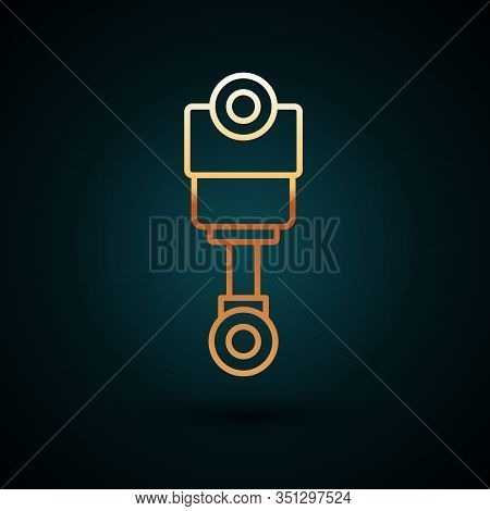 Gold Line Engine Piston Icon Isolated On Dark Blue Background. Car Engine Piston Sign. Vector Illust