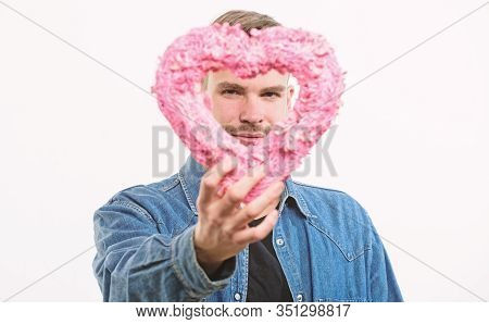 Surprise For Her. Man With Decorative Heart. Date. Love And Romance. Romantic Greeting. Valentines D