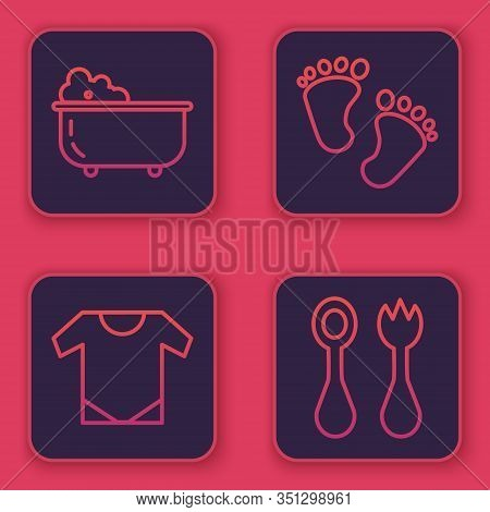 Set Line Baby Bathtub, Baby Onesie, Baby Footprints And Baby Cutlery With Fork And Spoon. Blue Squar