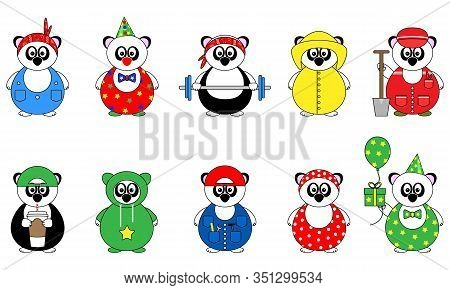 Set Of Ten Cute Cartoon Vector Illustrations Of Panda Bear With Bandana, Coffee, Birthday Present, T