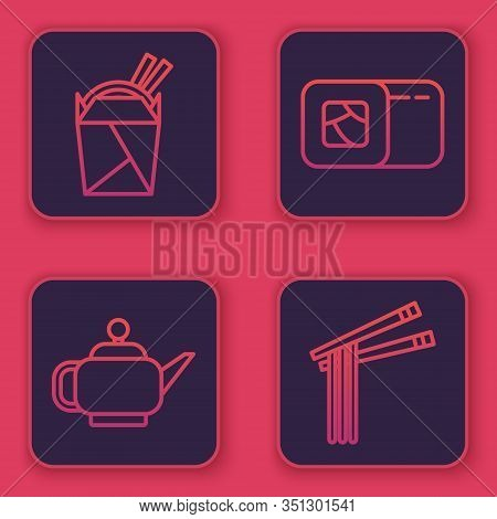 Set Line Asian Noodles In Paper Box And Chopsticks, Japanese Tea Ceremony, Sushi And Asian Noodles A