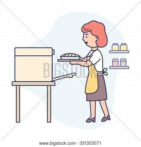 Cooking Concept. Happy Woman Is Cooking Food At The Kitchen, Baking Tasty Pie. Woman Is Taking Pie O