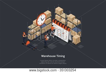 Isometric Concept Of Warehouse Timing.work Process In Warehouse With Personnel. Manager With Tablet