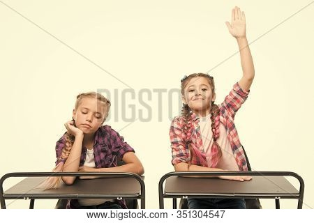 Students Classmates Sit Desk. Back To School. Private School Concept. Elementary School Education. L