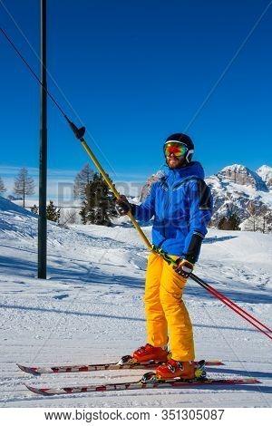 Alpine Skier With T-bar Lift