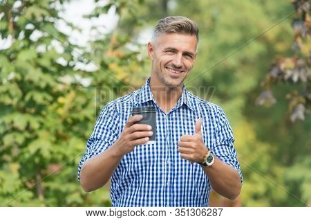 Coffee Is My Best Friend. Happy Man Give Thumbs Up Drinking Coffee. Gesturing Thumbs Up Hand Sign. T