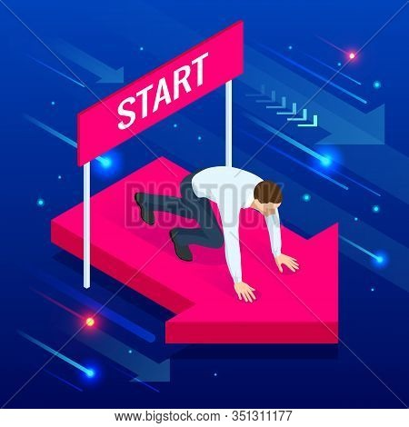 Isometric Young Businessman In The Starting Position. Starting Career Or Starup Concept.