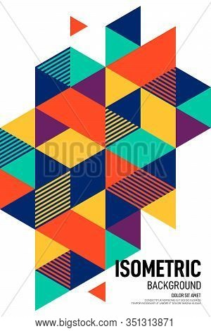 Abstract Isometric Geometric Shape Layout Design Template Poster Background Modern Art Style. Graphi