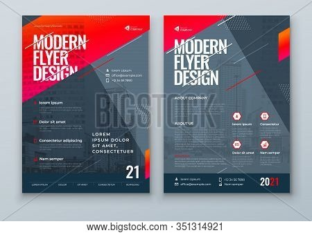 Flyer Design. Dark Red Modern Flyer Background Design. Template Layout For Flyer. Concept With Dynam